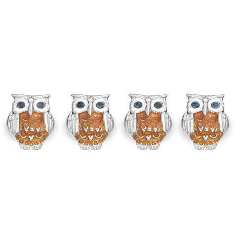 Deakin and Francis Sterling Silver Brown Owl Dress Studs With Sapphire Eyes
