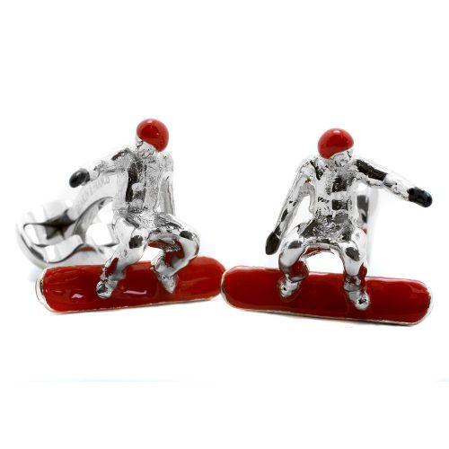 Deakin & Francis Sterling Silver & Enamel Snowboarder Cufflinks