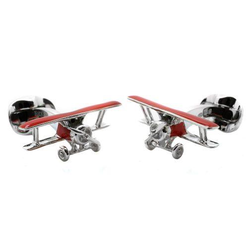 Deakin & Francis Sterling Silver Red Enamel Biplane Cufflinks
