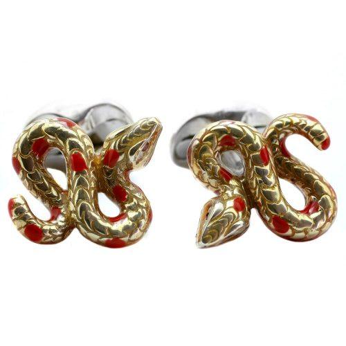 Deakin & Francis Sterling Silver Yellow Snake Cufflinks