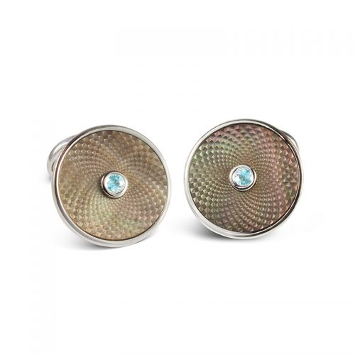 Deakin and Francis Sterling Silver, Grey Mother Of Pearl & Aquamarine Dreamcatcher Cufflinks