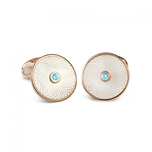 Deakin and Francis Sterling Silver, White Mother Of Pearl & Aquamarine Dreamcatcher Cufflinks