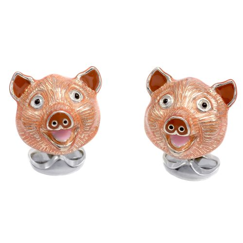 Deakin and Francis Sterling Silver & Enamel Pig Head Cufflinks