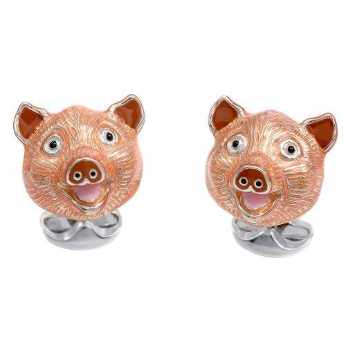 Deakin and Francis Sterling Silver & Enamel Pig Head Cufflinks