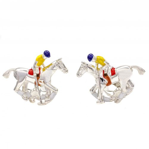 Deakin and Francis Sterling Silver & Enamel Polo Player Cufflinks