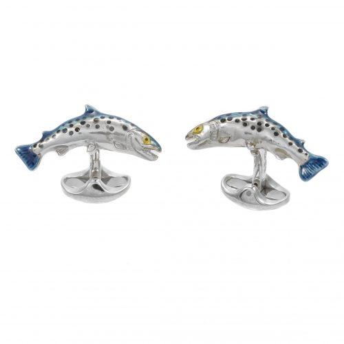 Deakin and Francis Sterling Silver Salmon Cufflinks
