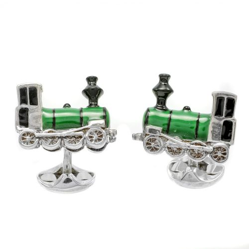 Deakin & Francis Sterling Silver & Enamel Steam Train Cufflinks