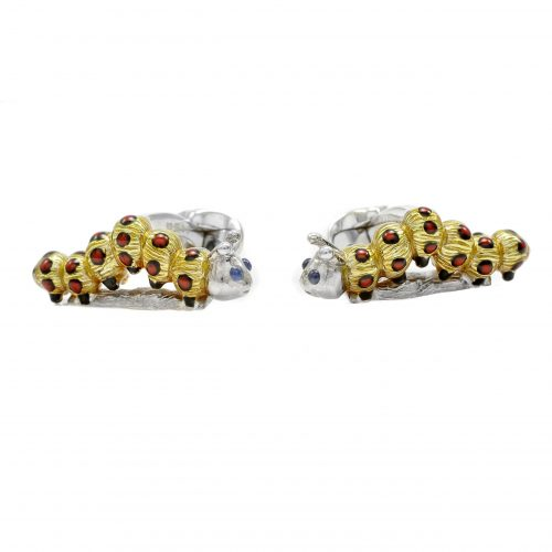 Deakin & Francis Sterling Silver Yellow Enamel Caterpillar Cufflinks