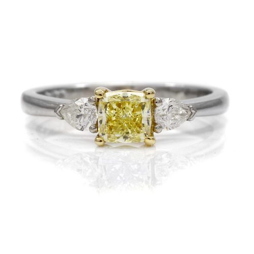 Yellow Diamond 3 Stone Platinum Ring