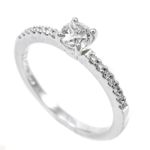 Platinum Diamond Solitaire Ring With Diamond Set Shoulders 0.52ct
