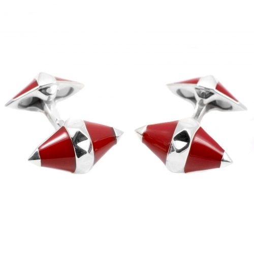 Deakin and Francis Sterling Silver & Red Enamel Diamond Shape Cufflinks
