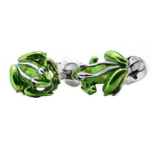 Deakin & Francis Sterling Silver & Green Enamel Frog Cufflinks