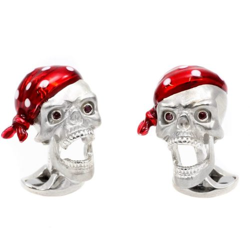 Deakin & Francis Sterling Silver Pirate Skull Cufflinks with Ruby Eyes