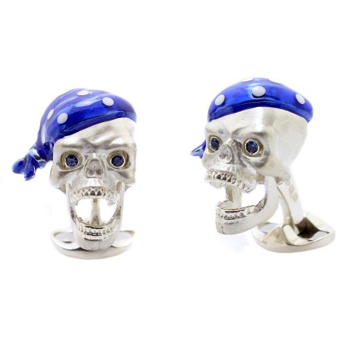 Deakin & Francis Sterling Silver Pirate Skull Cufflinks with Sapphire Eyes