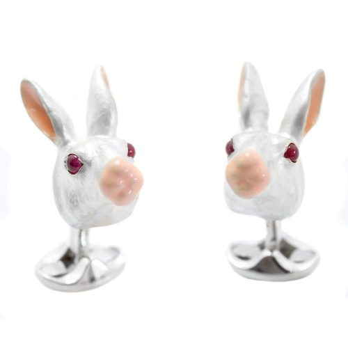 Deakin and Francis Sterling Silver White Rabbit Cufflinks With Ruby Eyes