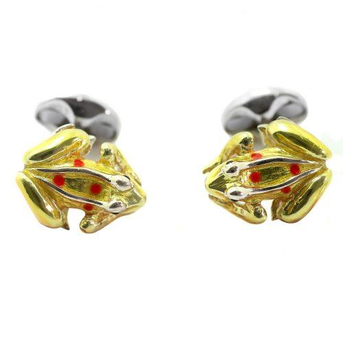 Deakin & Francis Sterling Silver Yellow Enamel Frog Cufflinks