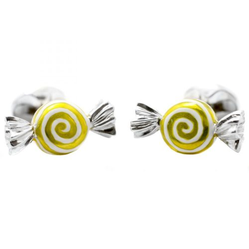 Deakin & Francis Sterling Silver & Yellow Enamel Sweet Cufflinks