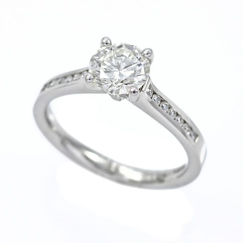 Platinum Classic Diamond Solitaire Ring Channel Set Diamond Shoulders