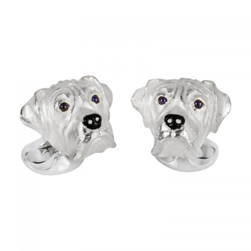 Deakin and Francis Sterling Silver Boxer Dog Head Cufflinks