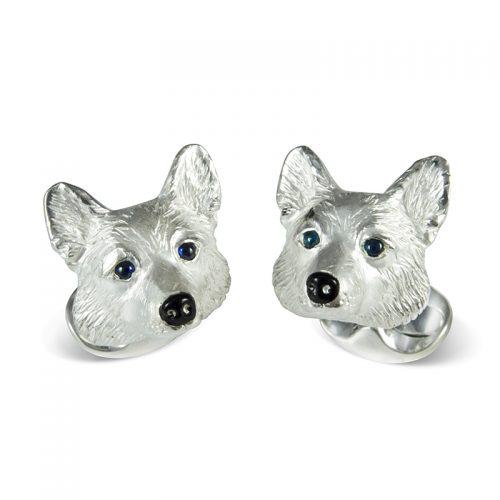 Deakin and Francis Sterling Silver Corgi Dog Head Cufflinks