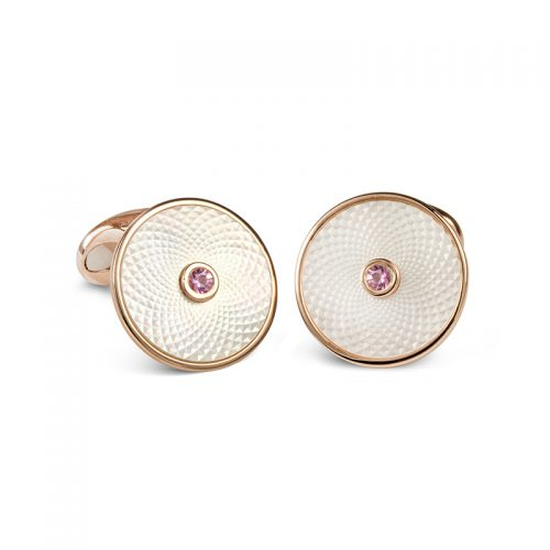 Deakin and Francis Sterling Silver, Mother Of Pearl & Pink Sapphire Dreamcatcher Cufflinks