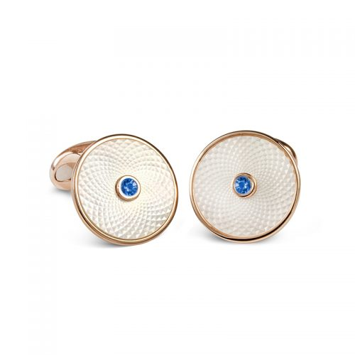 Deakin and Francis Sterling Silver & White Mother Of Pearl & Blue Sapphire Dreamcatcher Cufflinks