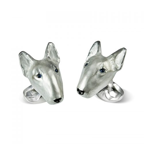 Deakin and Francis Sterling Silver English Bull Terrier Head Cufflinks