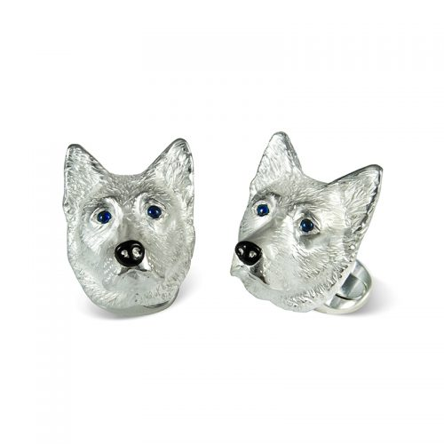 Deakin and Francis Sterling Silver German Shepherd Head Cufflinks