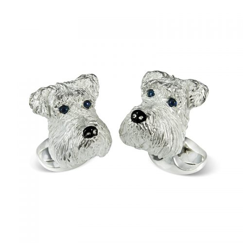 Deakin and Francis Sterling Silver Schnauzer Head Cufflinks