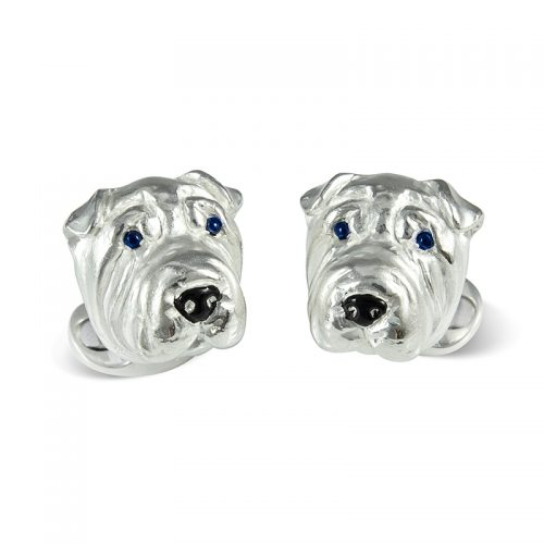 Deakin and Francis Sterling Silver Shar Pei Dog Head Cufflinks