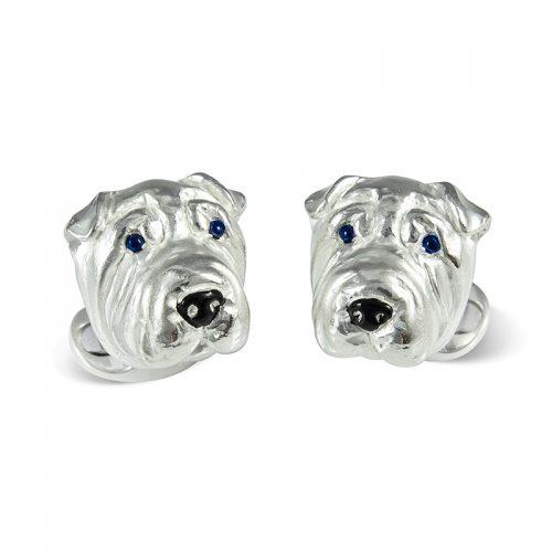 Deakin and Francis Sterling Silver Shar Pei Dog Head Cufflinks