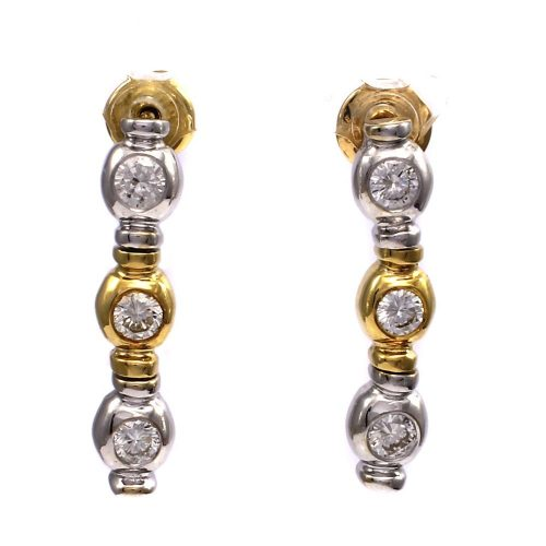 18ct White & Yellow Gold Diamond Drop Earrings 0.42ct