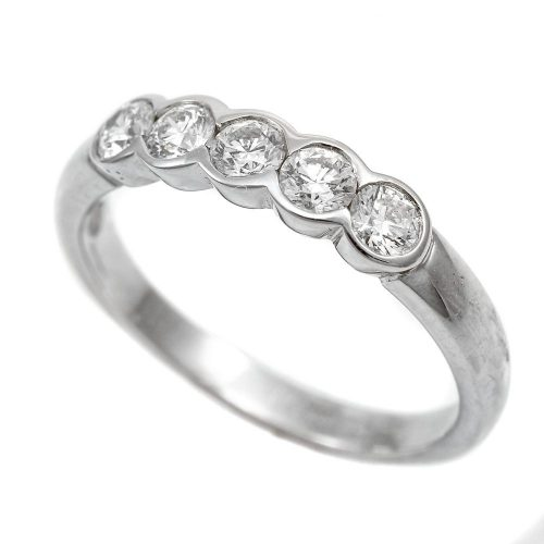 Platinum Half Hoop Diamond Ring 0.50ct