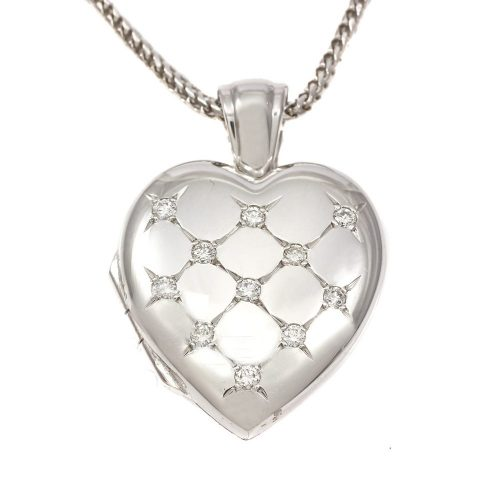 18ct White Gold Diamond Set Oval Locket