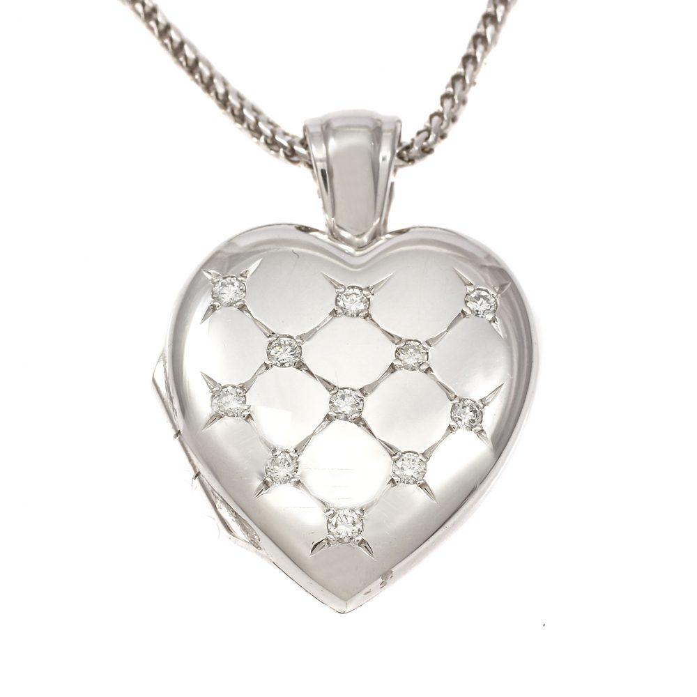 18ct White Gold Diamond Set Oval Locket