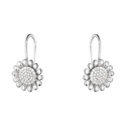 Georg Jensen Sunflower 602A Diamond Set Drop Earrings
