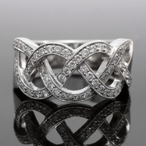 18ct white gold diamond set lattice design wide dress ring