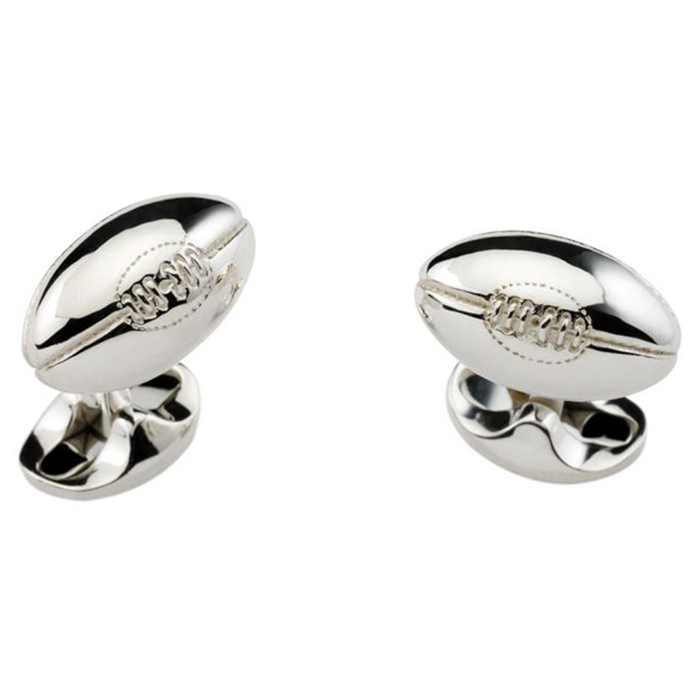 Deakin and Francis Sterling Silver Rugby Ball Cufflinks