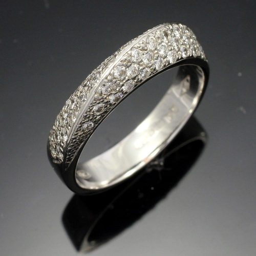 18ct white gold pave set diamond twist dress ring
