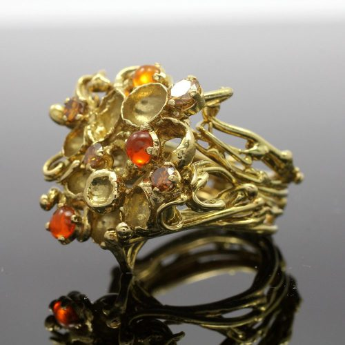 18ct yellow gold woven dress ring fire opal & brown diamond