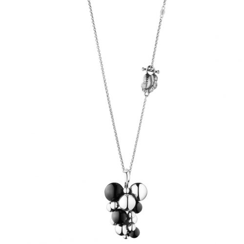 Georg Jensen Moonlight Grapes Sterling Silver & Onyx Pendant & Chain
