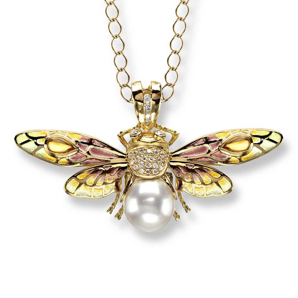 18ct Gold Plique-a-Jour Vitreous Enamel Bee Pendant Diamond, Citrine & South Sea Pearl