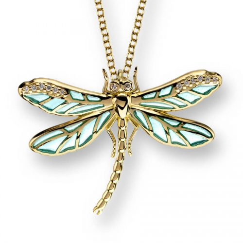 18ct Gold Plique-a-Jour Vitreous Blue Enamel Small Dragonfly Pendant Diamond Set