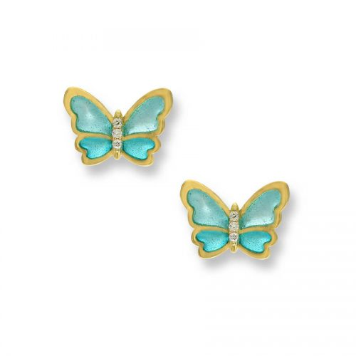 18ct Gold Plique-a-Jour Vitreous Turquoise Enamel Diamond Set Butterfly Stud Earrings