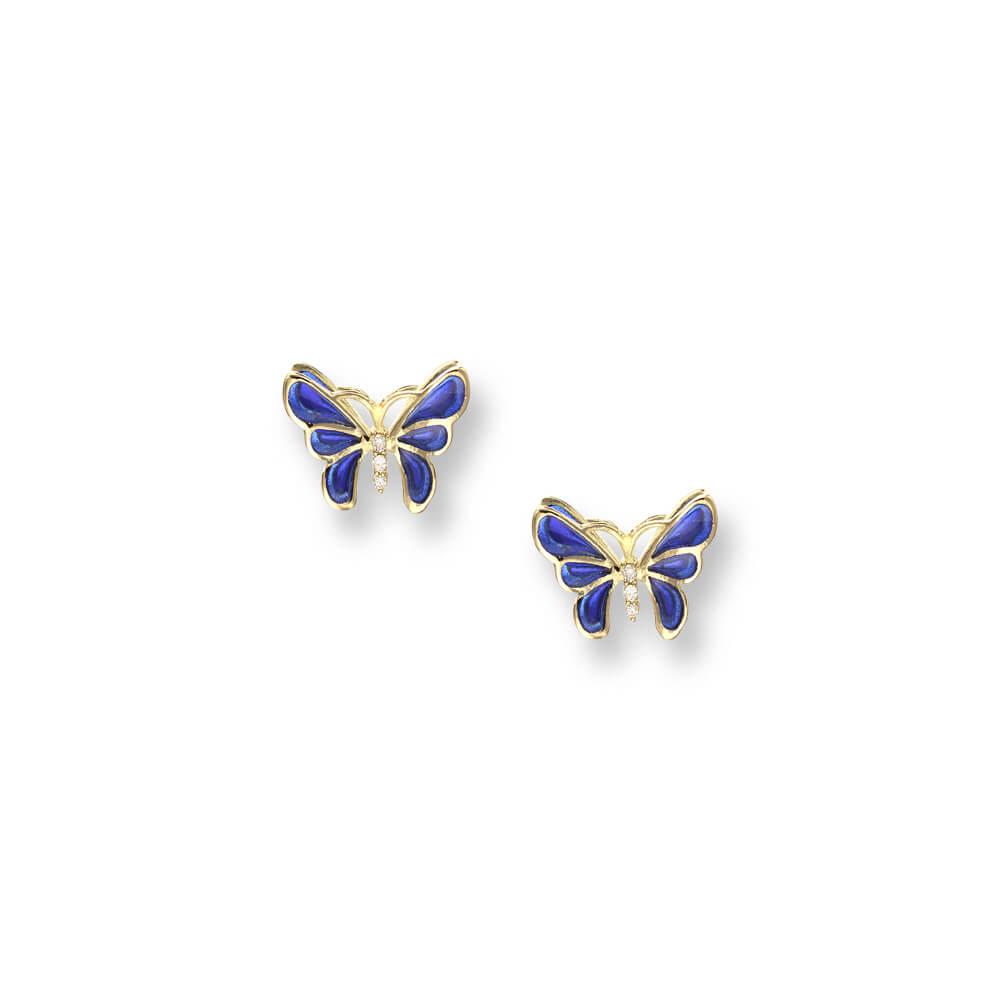 18ct Gold Plique-a-Jour Vitreous Blue Enamel Diamond Set Butterfly Stud Earrings