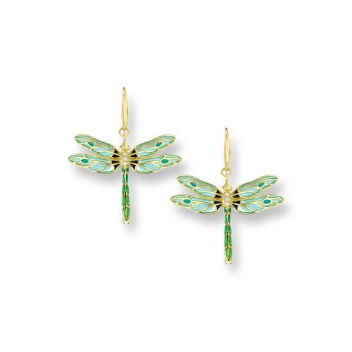 18ct Gold Plique-a-Jour Vitreous Green Enamel Diamond Set Dragonfly Earrings