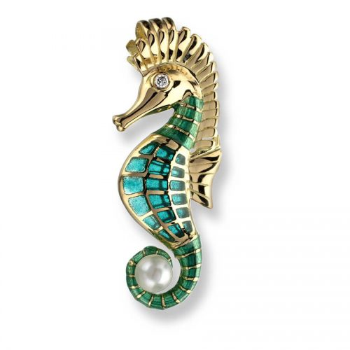 Plique-a-Jour Vitreous Green Enamel on 18ct Gold Diamond & Akoya Pearl Seahorse Pendant.