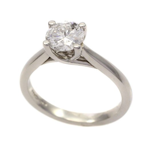 Platinum 4 claw 1.05ct round brilliant cut diamond solitaire ring
