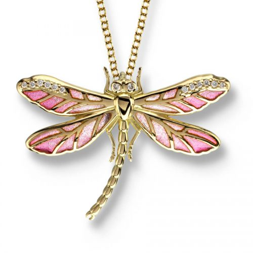 18ct Gold Plique-a-Jour Vitreous Pink Enamel Small Dragonfly Pendant Diamond Set