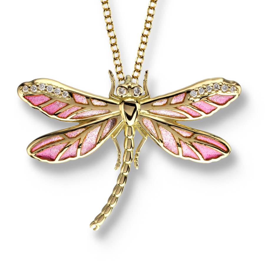 18ct Gold Plique-a-Jour Vitreous Pink Enamel Small Dragonfly Pendant Diamond Set